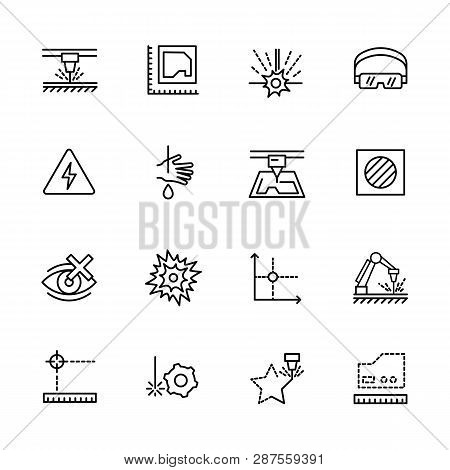 Simple Icon Set Laser Cutting And Metal Processing. Contains Such Symbols Industrial Machine, Equipm