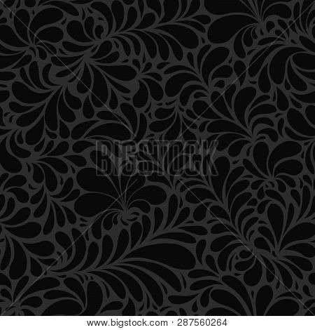 Black Paisley Or Damask Black Floral Seamless Pattern, Vector Ornament. Hand Drawn Seamless Pattern.