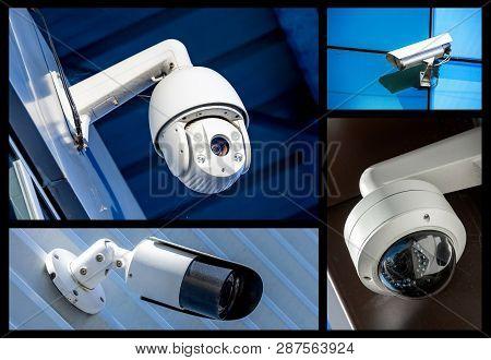 Set Of Closeup Security Camera In Various Situation