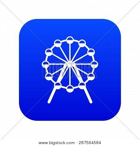Singapore Flyer, Tallest Wheel In The World Icon Digital Blue For Any Design Isolated On White Vecto