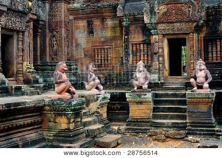 Monkey guards at Banteay Srei Temple, Angkor, Cambodia