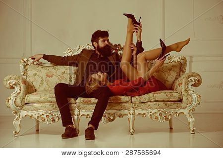 Foreplay. Foreplay Of Man And Woman. Couple Foreplay On Luxury Sofa. Foreplay And Love Games Of Sexy