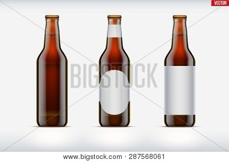 Mockup Set Of Craft Beer Bottle. Brown Amber Glass. Mock-up Design For Individual And Home Brewery.
