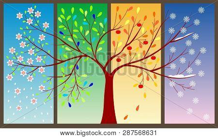 Four Seasons Of The Year - Art Illustration Springtime, Winter, Four Seasons, Tree, Illustration