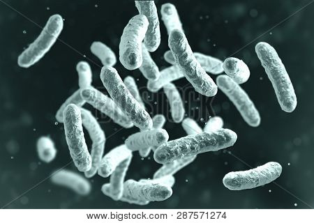 Microbe, Microorganism, Rod-shaped Bacterium. 3d Illustration Of Medically Important Bacteria