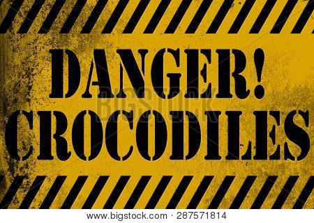 Danger Crocodiles Sign Yellow With Stripes, 3d Rendering