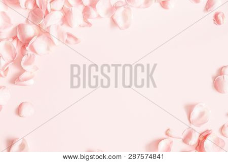 Flowers Composition. Rose Flower Petals On Pastel Pink Background. Valentines Day, Mothers Day, Wome