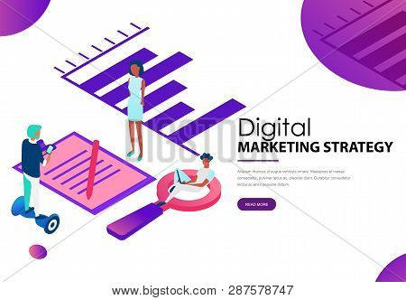 Digital Marketing Strategy Landing Webpage Template. It Team Specialists Working At Office With Data
