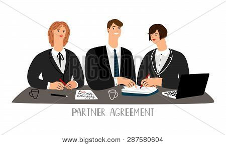 Partner Agreement. Partnership Business Contract Signing Negotiating Table, Business People Partneri