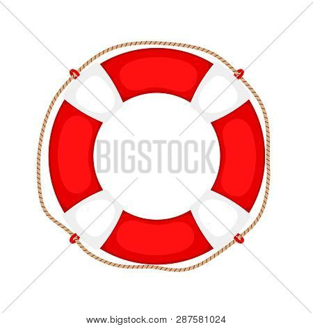 Lifebuoy On White. Life Preserver Rubber Safety Ring With Rope, Round Lifesaver Isolated, Protect Su