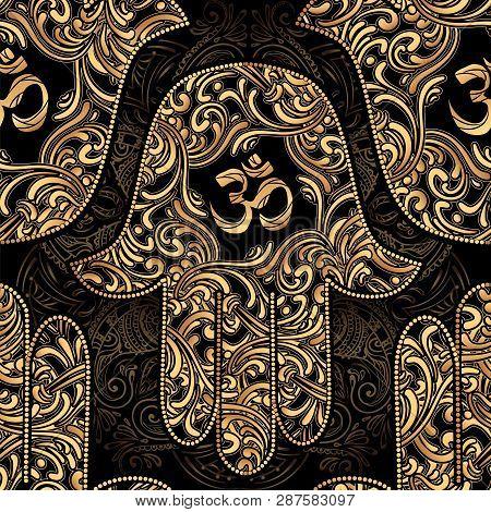 Seamless Pattern Ornate Amulet Hamsa Hand Of Fatima. Ethnic Amulet With Hindu Om Symbol In Sanskrit.