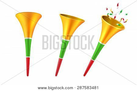 Set Of Isolated 3d Party Horns Or Cartoon Soccer Trumpet With Confetti. Football Fan Blower Or Cone