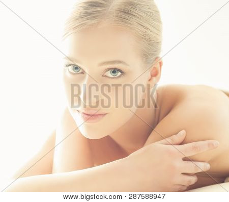 Spa Portrait Of Young, Healthy And Beautiful Woman Isolated On White.