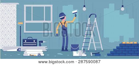 Repair Of Apartments, Worker Painting Walls. Man Provides Professional Services For Cottage House, O