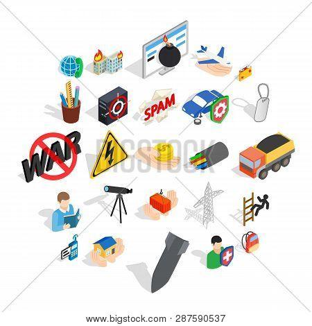 Big City Life Icons Set. Isometric Set Of 25 Big City Life Icons For Web Isolated On White Backgroun