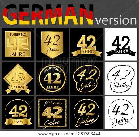 Set Of Number Forty-two Years (42 Years) Celebration Design. Anniversary Golden Number Template Elem