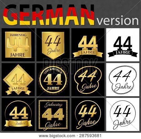 Set Of Number Forty-four Years (44 Years) Celebration Design. Anniversary Golden Number Template Ele