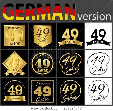 Set Of Number Forty-nine Years (49 Years) Celebration Design. Anniversary Golden Number Template Ele