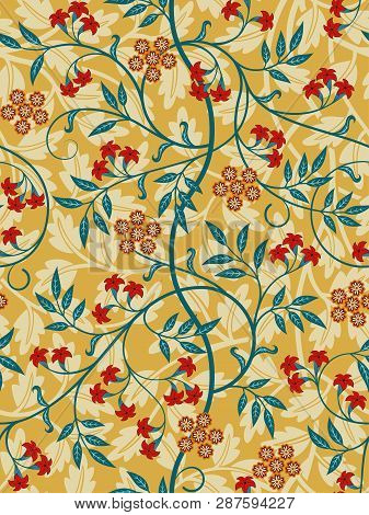 Vintage Floral Seamless Pattern On Light Background. Bright Colors. Middle Ages Style. Vector Illust