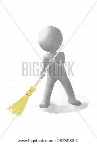 3d White Man With A Broom On A White Background Promotes The Purity Of City Streets And Courtyards.