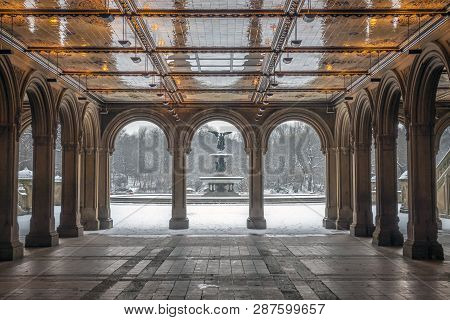 Central Park New York City During Snow Storm In Tunnel