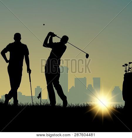 Two Golfers Silhouette Playing On The Playground And In City Vector Eps 10