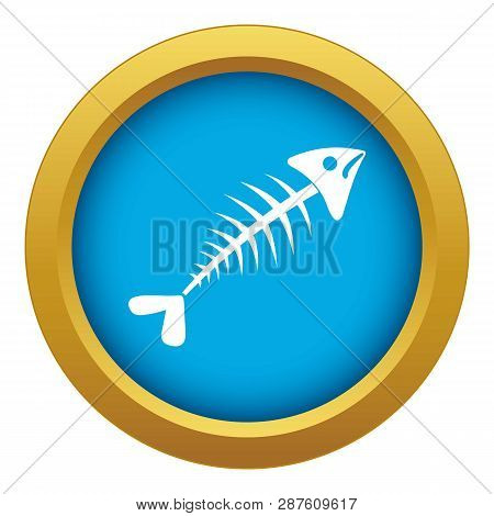 Fish Bone Icon Blue Vector Isolated On White Background For Any Design