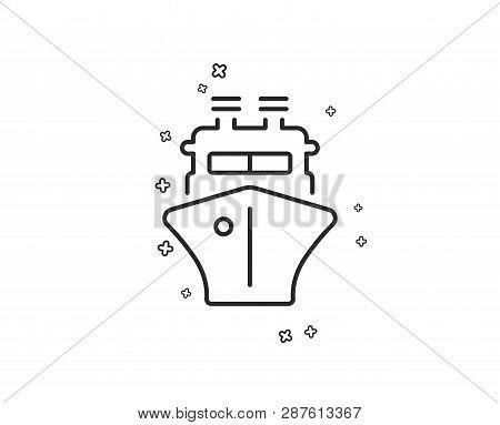 Ship Line Icon. Watercraft Transport Sign. Shipping Symbol. Geometric Shapes. Random Cross Elements.