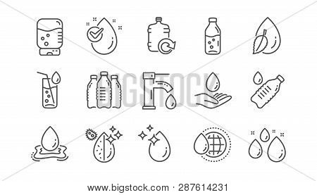 Water drop line icons. Bottle, Antibacterial filter and Tap water. Clean water linear icon set.  Vector poster