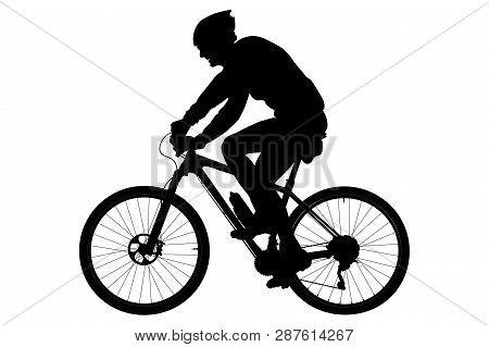 Old Man Cyclist On Sport Mountainbike Black Silhouette