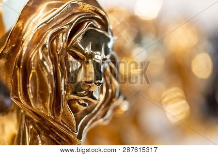 Closed Up Of Gold Cannes Lion Award, Trophy For Winner Of Advertising Agency In Yearly Festival In C
