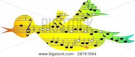 Bird,music symbols