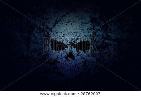 Blue Grunge Skull Dark Background