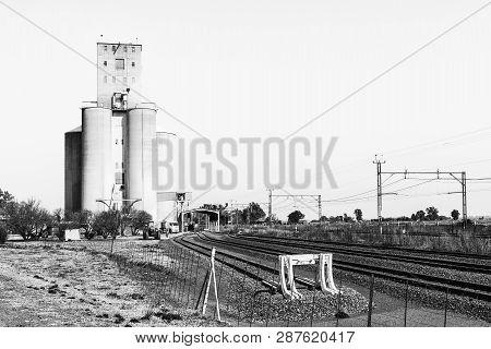 Rooiwal, South Africa, July 30, 2018: The Silos At Rooiwal, Railroad Siding Near Kroonstad, A Town I
