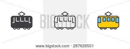 Retro Tram Icon. Line, Glyph And Filled Outline Colorful Version, Streetcar Transport Outline And Fi