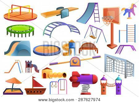 Kid Playground Icons Set. Cartoon Set Of Kid Playground Vector Icons For Web Design
