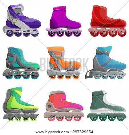 Inline Skates Icons Set. Cartoon Set Of Inline Skates Vector Icons For Web Design