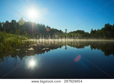 Beautiful Lake On A Summer Day In Estonia. Sun Shining On Forest And Woods In The Blue Sky. Refectio