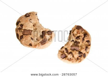 Half Eaten Chocolate Chip Cookies Isolated on a White Background