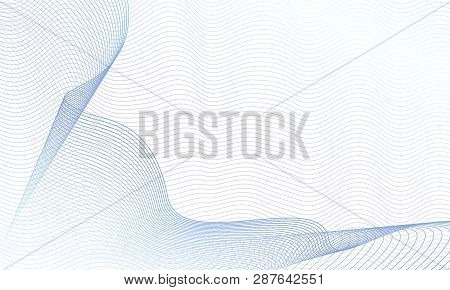 Draped Net Pattern On Ripple Subtle Curves. Abstract Vector Colored Waves. Guilloche Art Line Design
