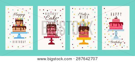 poster of Cake birthday banners or birthday invitation cards vector illustration. Happy birthday. Make a wish. Flyers for bakery or sweets shop. Big cartoon cakes with burning candles.