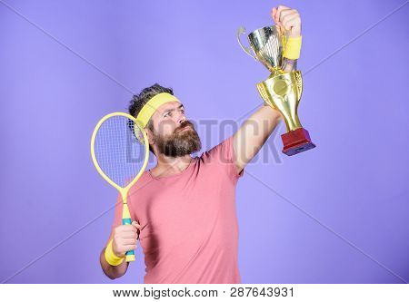Tennis Match Winner. Achieved Top. Tennis Player Win Championship. Athlete Hold Tennis Racket And Go