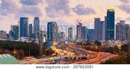 Panorama Of Tel Aviv Skyline City And Ayalon Freeway At Sunset - View Of  Tel Aviv Cityscape