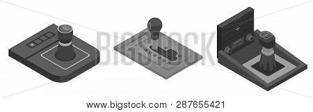 Gearbox Icons Set. Isometric Set Of Gearbox Vector Icons For Web Design Isolated On White Background