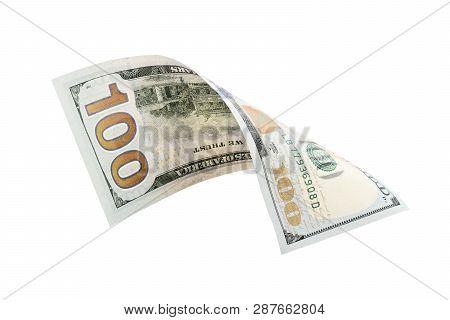 One Hundred Dollars Isolated On White Background. New One Hundred Dollars.
