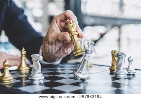 Businessman Playing Chess Game Reaching To Plan Strategy For Success, Thinking For Planning Overcomi