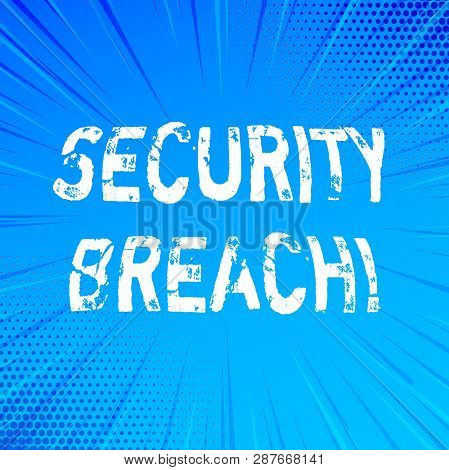 Handwriting text writing Security Breach. Concept meaning Unauthorized access to Data Network Applications Devices. poster
