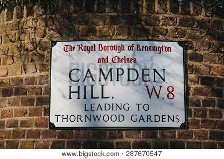 London, Uk - February 23, 2019: Campden Hill Street Name Sign On A White Wall In The Royal Borough O