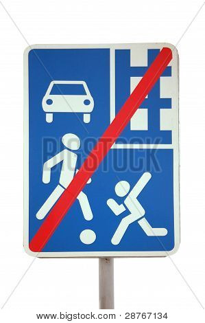 European Caution Traffic Sign   - Cancellation Of Pedestrian Priority After Residential Area
