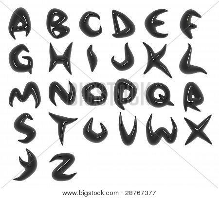 3D Render Of Black Organic Alphabet Fonts